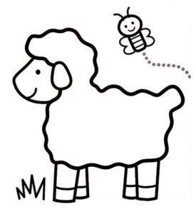 Dibujo de ovejita y mariposa