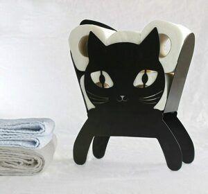 Soporte papel higiénico con forma de gato