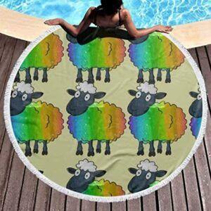 Comprar toalla de playa redonda con ovejas de colores