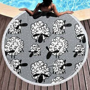 Comprar tapiz de playa redondo con dibujos animados de borregos