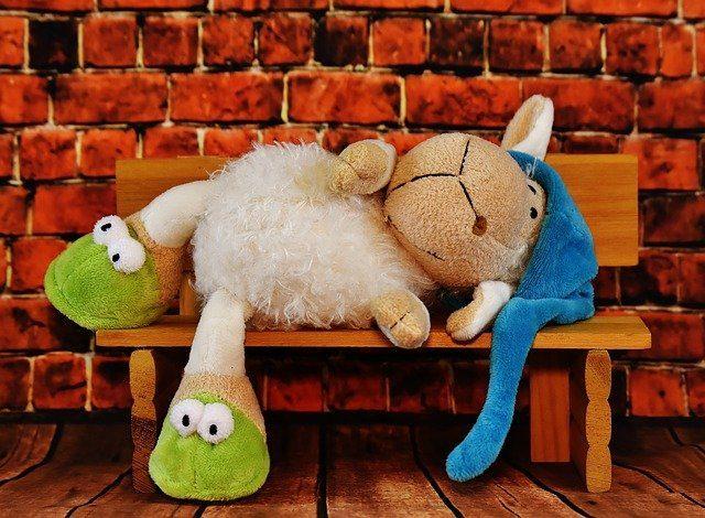 Oveja de peluche tumbada en un banco
